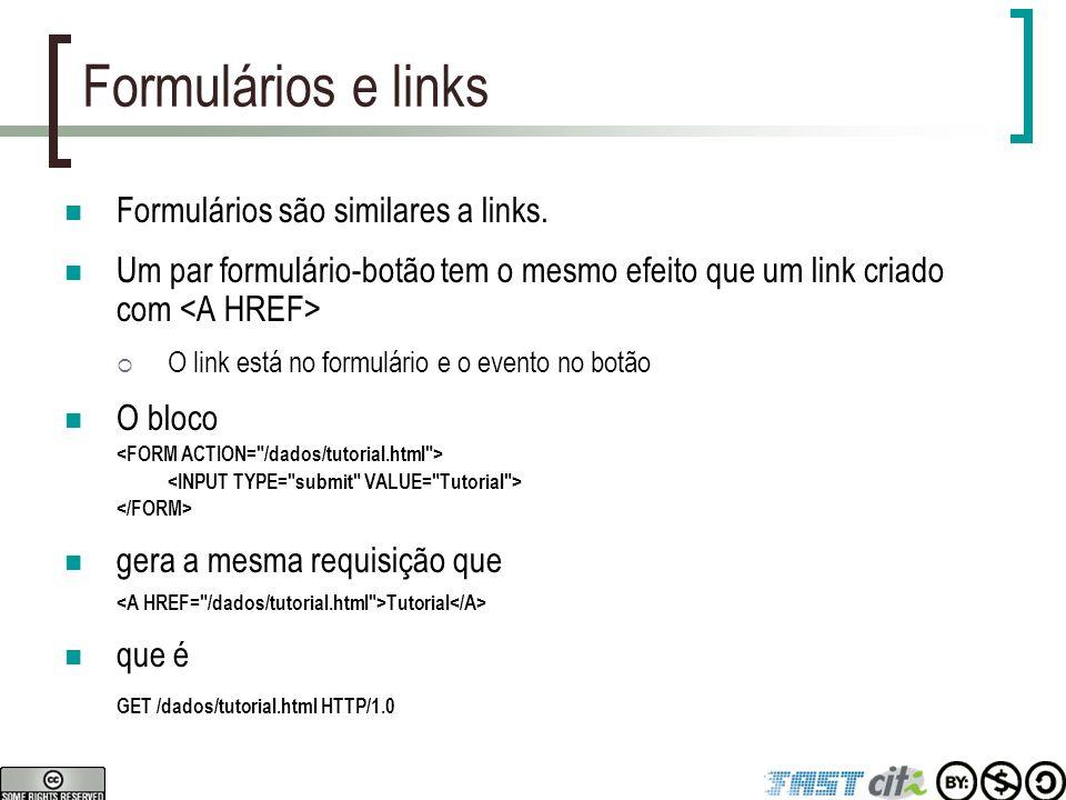 Formulários e links Formulários são similares a links. Um par formulário-botão tem o mesmo efeito que um link criado com  O link está no formulário e