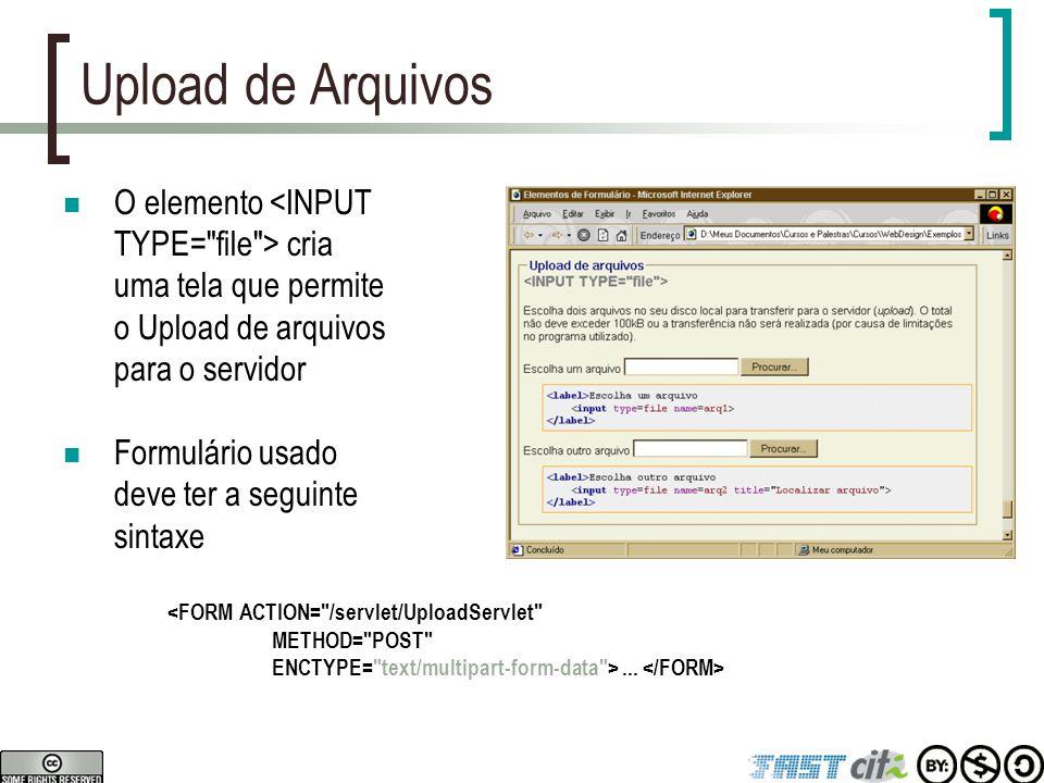 Upload de Arquivos O elemento <INPUT TYPE=