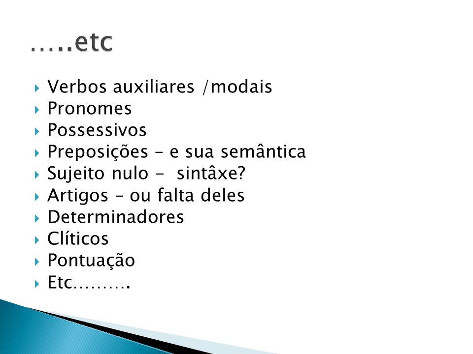  Verbos auxiliares /modais  Pronomes  Possessivos  Preposições – e sua semântica  Sujeito nulo - sintâxe?  Artigos – ou falta deles  Determinad