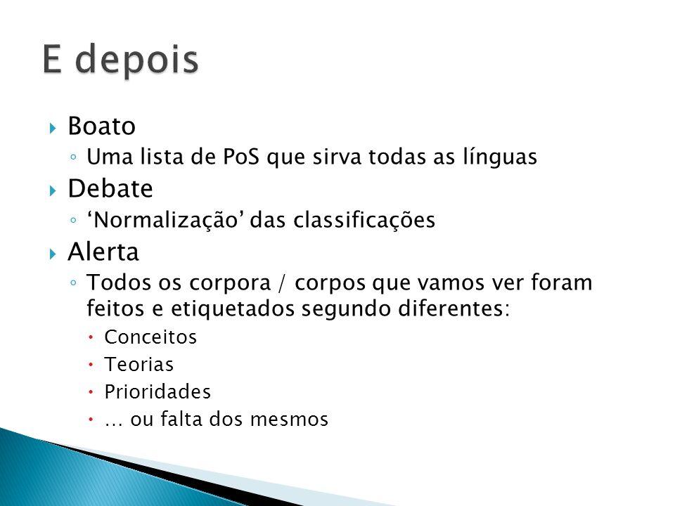  Boato ◦ Uma lista de PoS que sirva todas as línguas  Debate ◦ 'Normalização' das classificações  Alerta ◦ Todos os corpora / corpos que vamos ver