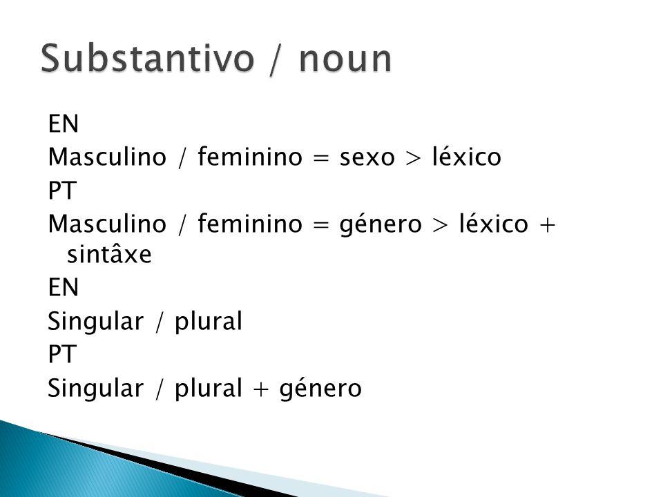 EN Masculino / feminino = sexo > léxico PT Masculino / feminino = género > léxico + sintâxe EN Singular / plural PT Singular / plural + género