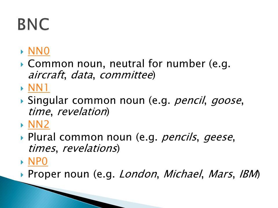  NN0 NN0  Common noun, neutral for number (e.g. aircraft, data, committee)  NN1 NN1  Singular common noun (e.g. pencil, goose, time, revelation) 