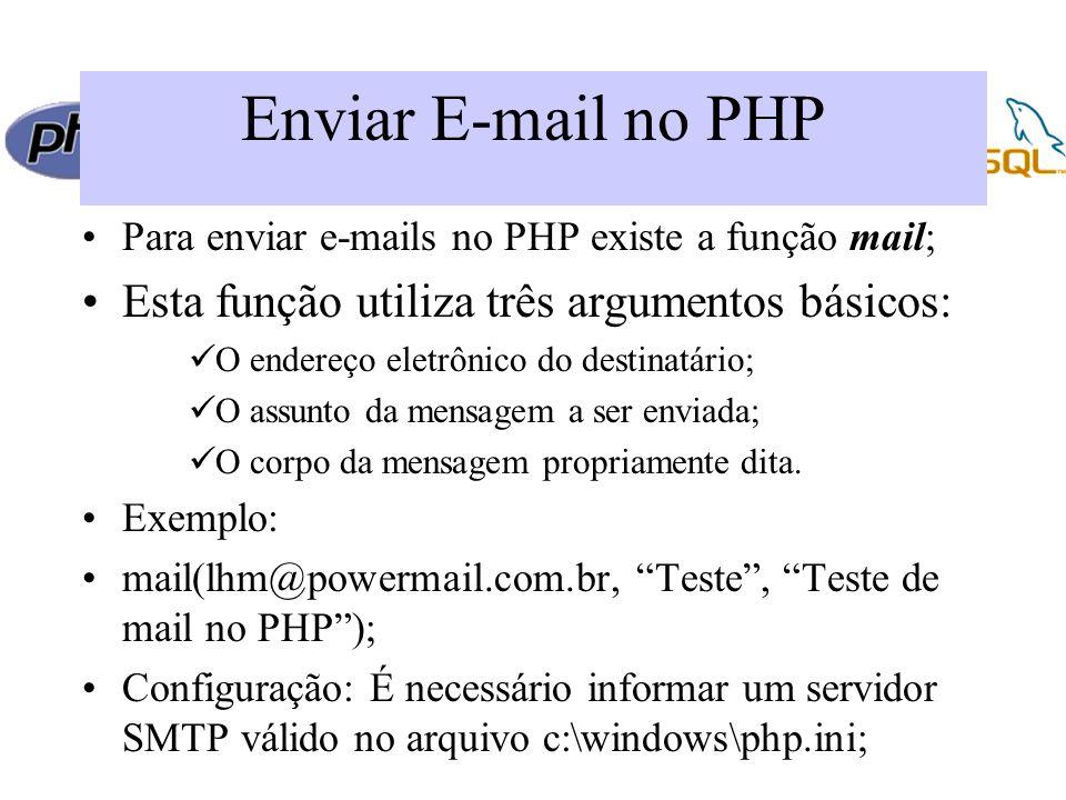 Enviar E-mail no PHP Para enviar e-mails no PHP existe a função mail; Esta função utiliza três argumentos básicos: O endereço eletrônico do destinatário; O assunto da mensagem a ser enviada; O corpo da mensagem propriamente dita.