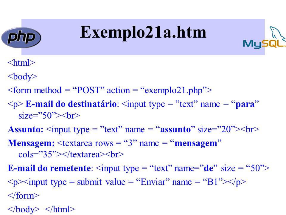 Exemplo21a.htm E-mail do destinatário: Assunto: Mensagem: E-mail do remetente: