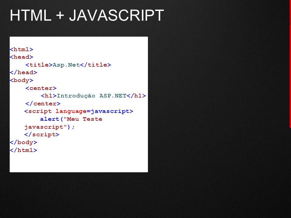 HTML + JAVASCRIPT Asp.Net Introdução ASP.NET alert(