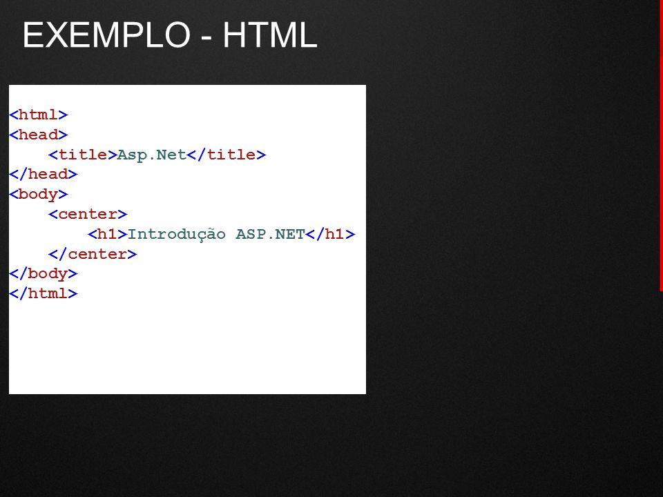 EXEMPLO - HTML Asp.Net Introdução ASP.NET