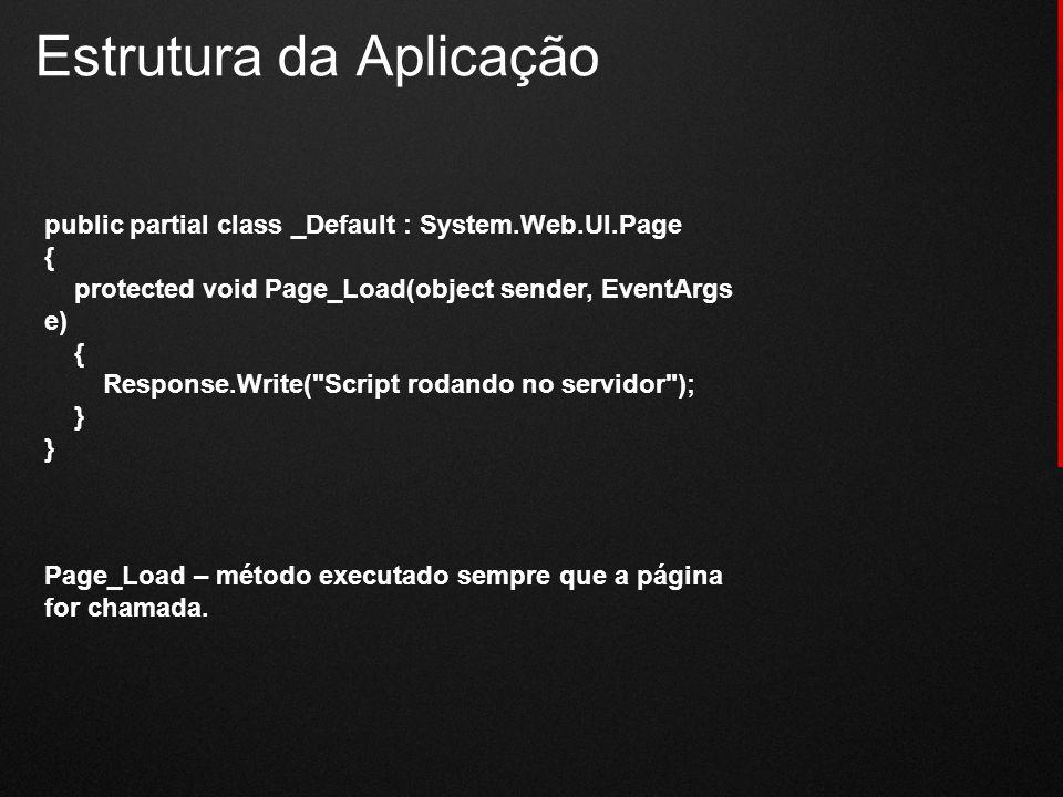 Estrutura da Aplicação public partial class _Default : System.Web.UI.Page { protected void Page_Load(object sender, EventArgs e) { Response.Write(