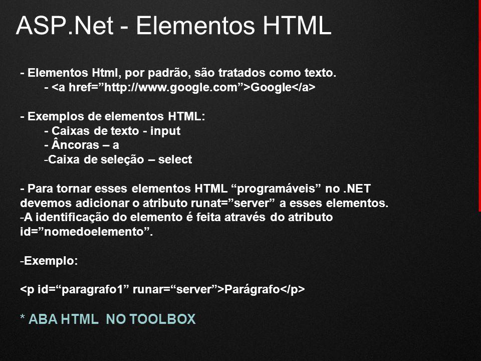 ASP.Net - Elementos HTML - Elementos Html, por padrão, são tratados como texto. - Google - Exemplos de elementos HTML: - Caixas de texto - input - Ânc