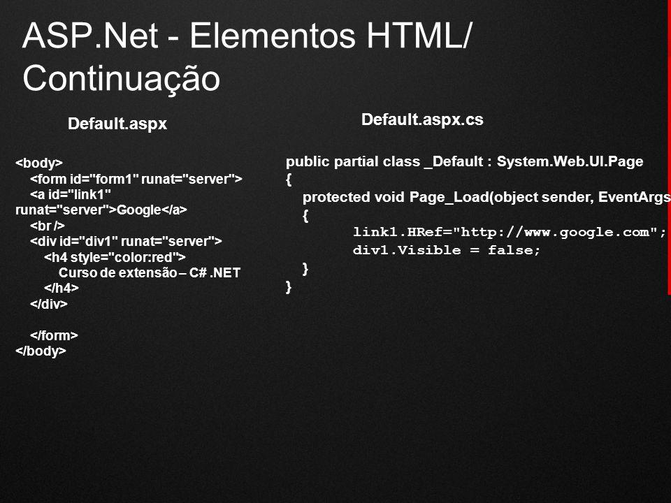 ASP.Net - Elementos HTML/ Continuação Google Curso de extensão – C#.NET public partial class _Default : System.Web.UI.Page { protected void Page_Load(