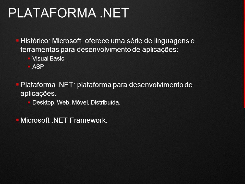  Histórico: Microsoft oferece uma série de linguagens e ferramentas para desenvolvimento de aplicações:  Visual Basic  ASP  Plataforma.NET: plataf