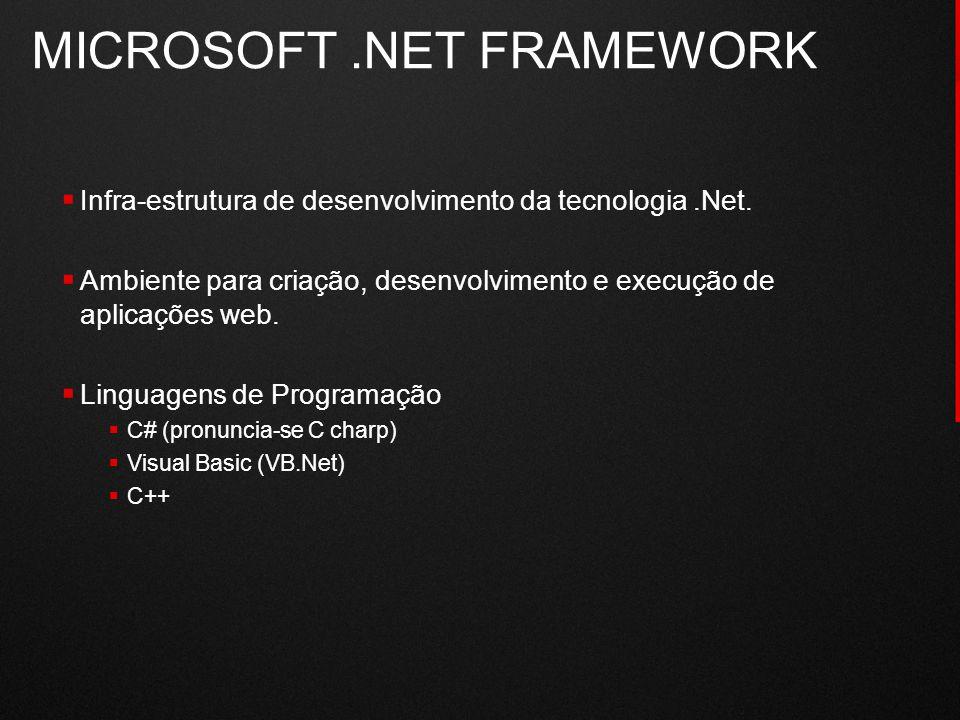 MICROSOFT.NET FRAMEWORK  Tecnologias:  ASP.NET Web Forms (Web)  Windows Forms (Desktop)  Compact Framework (PDA / Móvel)  Ambientes de Desenvolvimento:  Visual Studio.NET (VS.NET)  ASP.NET Web Matrix  Mono Tools (Multiplataforma)