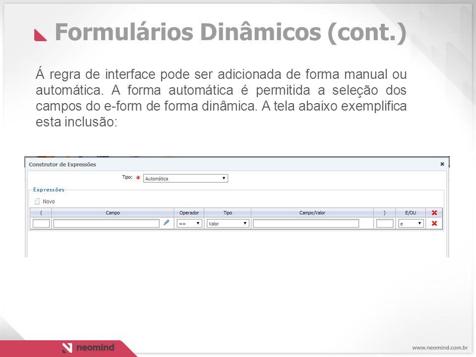 Á regra de interface pode ser adicionada de forma manual ou automática.