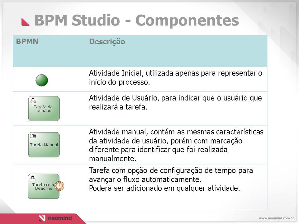 BPM Studio - Componentes BPMNDescrição Atividade Inicial, utilizada apenas para representar o início do processo.