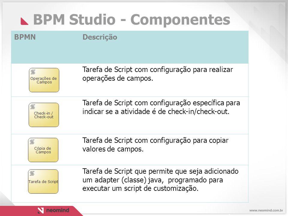 BPM Studio - Componentes BPMNDescrição Tarefa de Script com configuração para realizar operações de campos.
