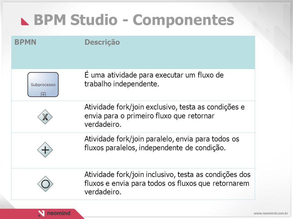BPM Studio - Componentes BPMNDescrição É uma atividade para executar um fluxo de trabalho independente.