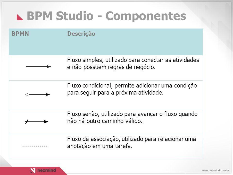 BPM Studio - Componentes BPMNDescrição Fluxo simples, utilizado para conectar as atividades e não possuem regras de negócio.