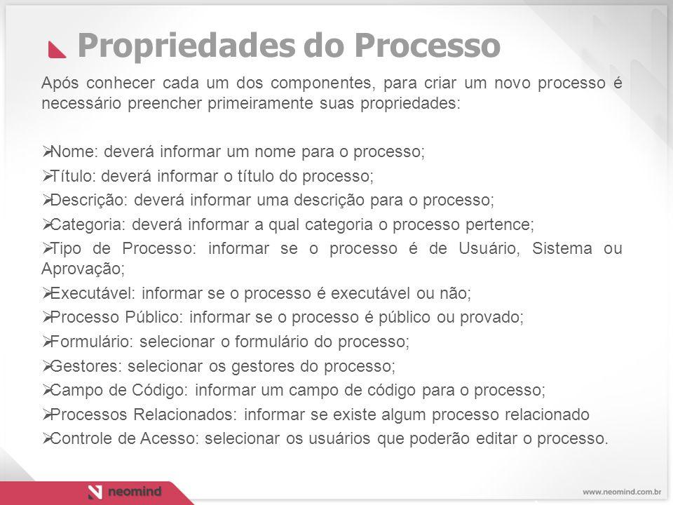 Propriedades do Processo Após conhecer cada um dos componentes, para criar um novo processo é necessário preencher primeiramente suas propriedades:  Nome: deverá informar um nome para o processo;  Título: deverá informar o título do processo;  Descrição: deverá informar uma descrição para o processo;  Categoria: deverá informar a qual categoria o processo pertence;  Tipo de Processo: informar se o processo é de Usuário, Sistema ou Aprovação;  Executável: informar se o processo é executável ou não;  Processo Público: informar se o processo é público ou provado;  Formulário: selecionar o formulário do processo;  Gestores: selecionar os gestores do processo;  Campo de Código: informar um campo de código para o processo;  Processos Relacionados: informar se existe algum processo relacionado  Controle de Acesso: selecionar os usuários que poderão editar o processo.