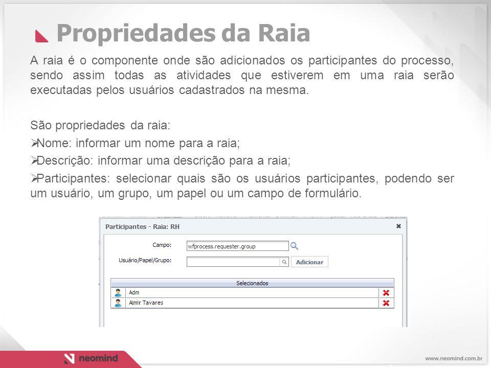 Propriedades da Raia A raia é o componente onde são adicionados os participantes do processo, sendo assim todas as atividades que estiverem em uma raia serão executadas pelos usuários cadastrados na mesma.