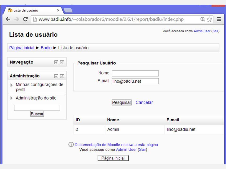 Formulário de filtro de usuário Tela com Formulário de Filtro