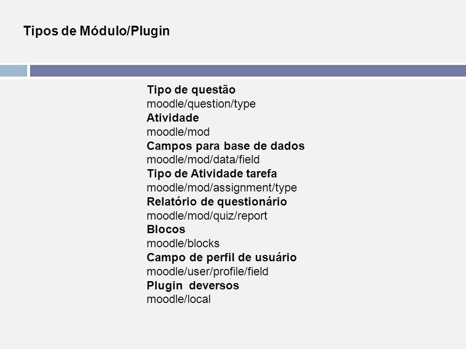 Tipos de Módulo/Plugin Tipo de questão moodle/question/type Atividade moodle/mod Campos para base de dados moodle/mod/data/field Tipo de Atividade tar
