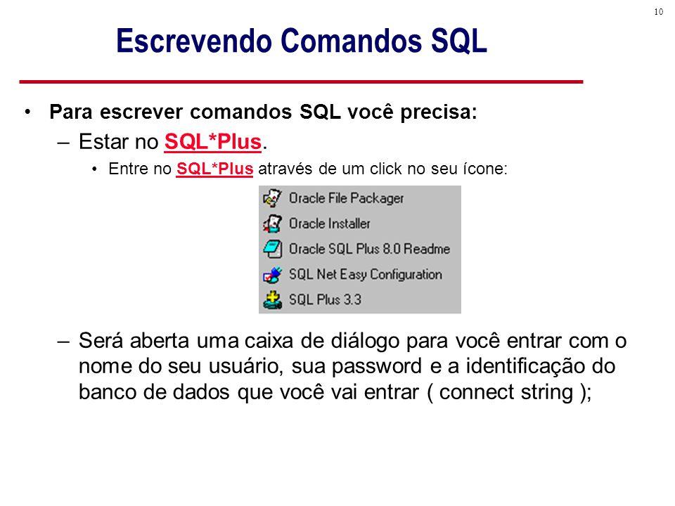 10 Escrevendo Comandos SQL Para escrever comandos SQL você precisa: –Estar no SQL*Plus.