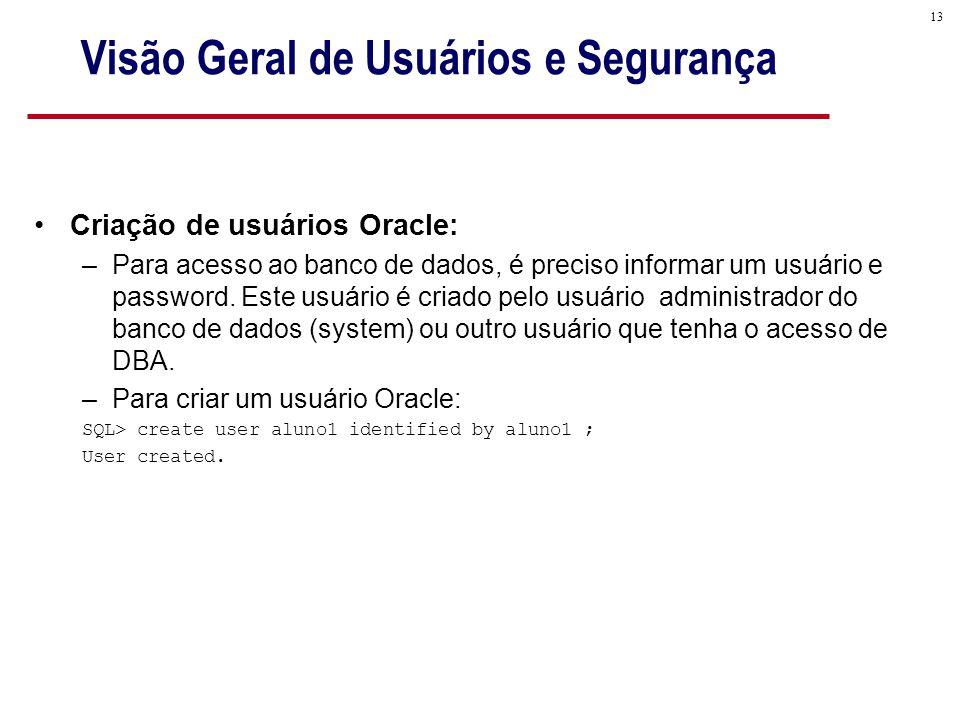 13 Visão Geral de Usuários e Segurança Criação de usuários Oracle: –Para acesso ao banco de dados, é preciso informar um usuário e password.