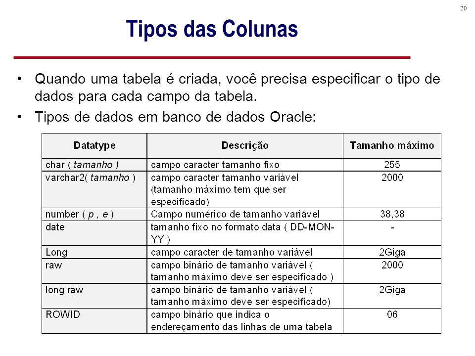 20 Tipos das Colunas Quando uma tabela é criada, você precisa especificar o tipo de dados para cada campo da tabela.