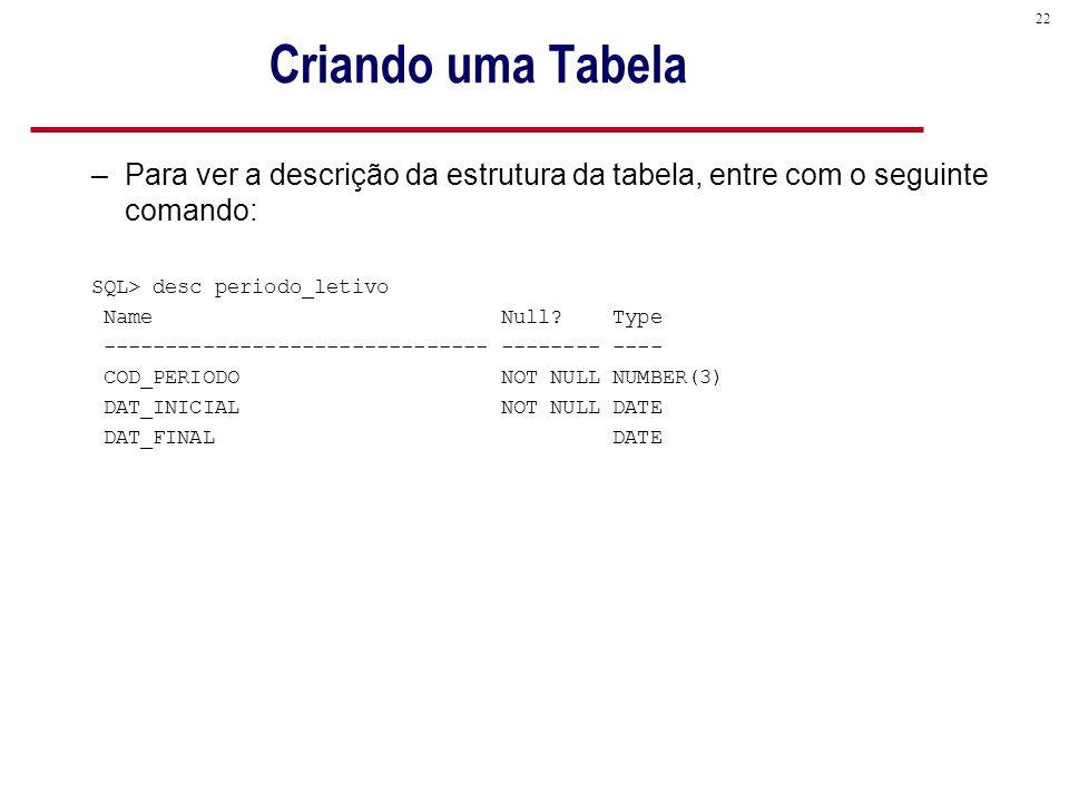 22 Criando uma Tabela –Para ver a descrição da estrutura da tabela, entre com o seguinte comando: SQL> desc periodo_letivo Name Null.