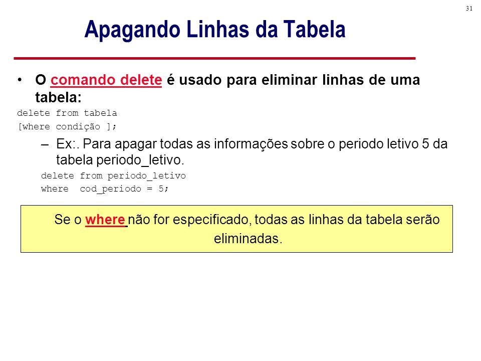 31 O comando delete é usado para eliminar linhas de uma tabela: delete from tabela [where condição ]; –Ex:.