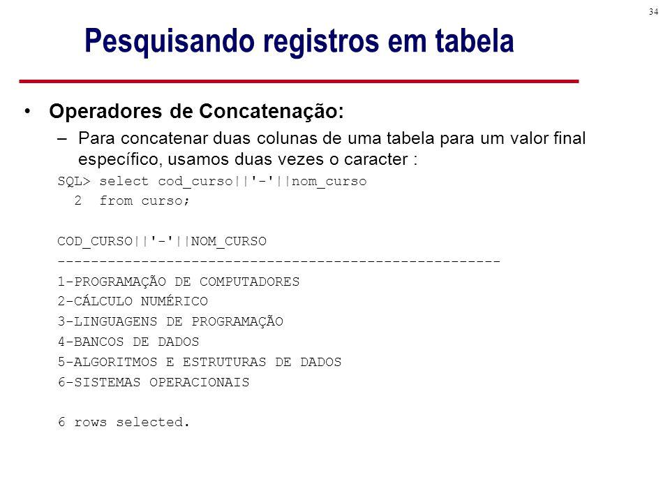 34 Pesquisando registros em tabela Operadores de Concatenação: –Para concatenar duas colunas de uma tabela para um valor final específico, usamos duas vezes o caracter : SQL> select cod_curso|| - ||nom_curso 2 from curso; COD_CURSO|| - ||NOM_CURSO ----------------------------------------------------- 1-PROGRAMAÇÃO DE COMPUTADORES 2-CÁLCULO NUMÉRICO 3-LINGUAGENS DE PROGRAMAÇÃO 4-BANCOS DE DADOS 5-ALGORITMOS E ESTRUTURAS DE DADOS 6-SISTEMAS OPERACIONAIS 6 rows selected.