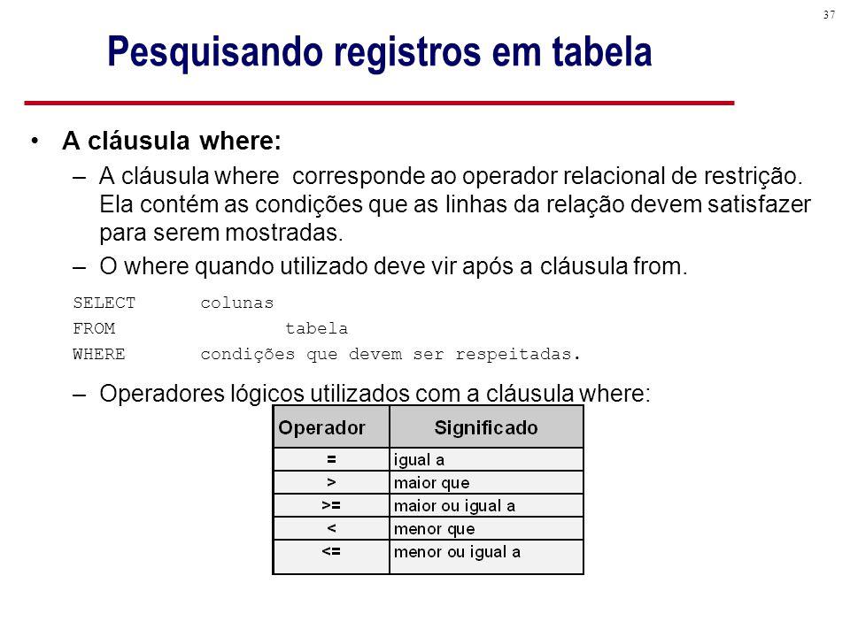 37 Pesquisando registros em tabela A cláusula where: –A cláusula where corresponde ao operador relacional de restrição.