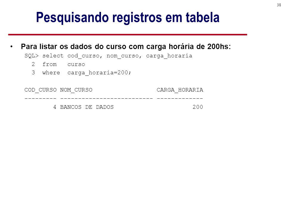 38 Pesquisando registros em tabela Para listar os dados do curso com carga horária de 200hs: SQL> select cod_curso, nom_curso, carga_horaria 2 from curso 3 where carga_horaria=200; COD_CURSO NOM_CURSO CARGA_HORARIA --------- -------------------------- ------------- 4 BANCOS DE DADOS 200