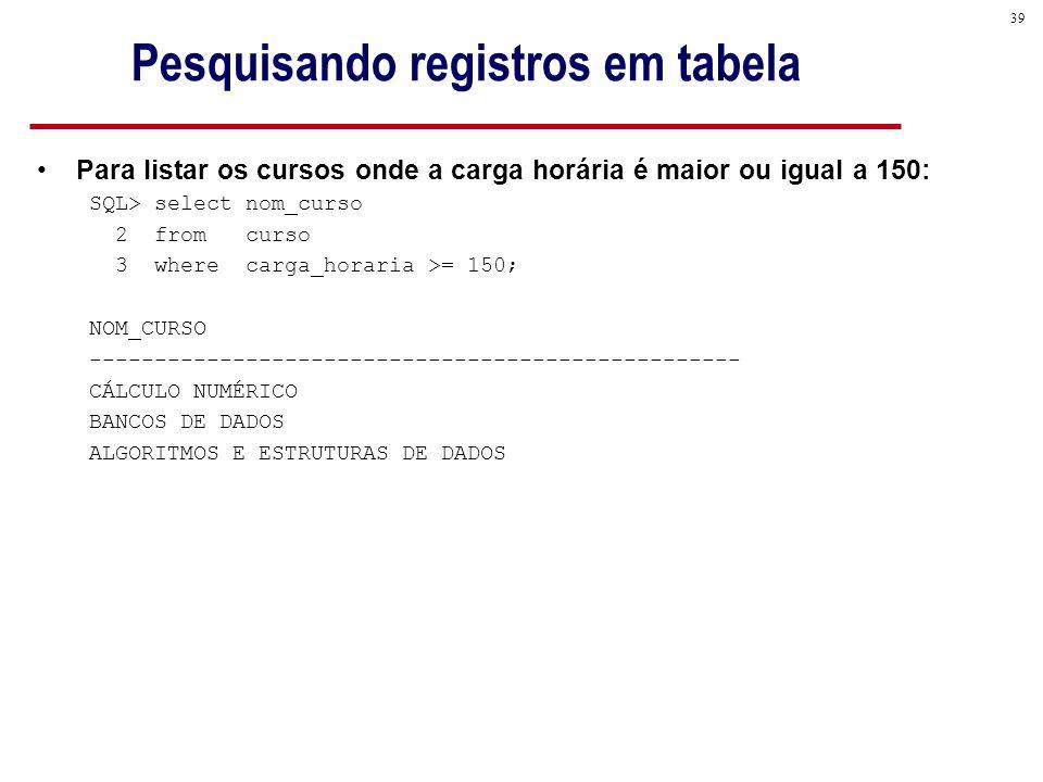 39 Pesquisando registros em tabela Para listar os cursos onde a carga horária é maior ou igual a 150: SQL> select nom_curso 2 from curso 3 where carga_horaria >= 150; NOM_CURSO -------------------------------------------------- CÁLCULO NUMÉRICO BANCOS DE DADOS ALGORITMOS E ESTRUTURAS DE DADOS