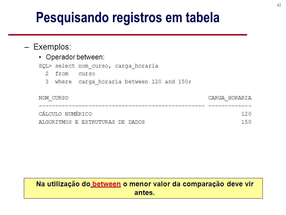 42 Pesquisando registros em tabela –Exemplos: Operador between: SQL> select nom_curso, carga_horaria 2 from curso 3 where carga_horaria between 120 and 150; NOM_CURSO CARGA_HORARIA -------------------------------------------------- ------------- CÁLCULO NUMÉRICO 120 ALGORITMOS E ESTRUTURAS DE DADOS 150 Na utilização do between o menor valor da comparação deve vir antes.