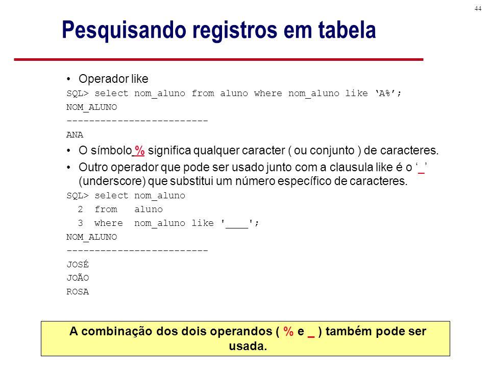44 Pesquisando registros em tabela Operador like SQL> select nom_aluno from aluno where nom_aluno like 'A%'; NOM_ALUNO ------------------------- ANA O símbolo % significa qualquer caracter ( ou conjunto ) de caracteres.
