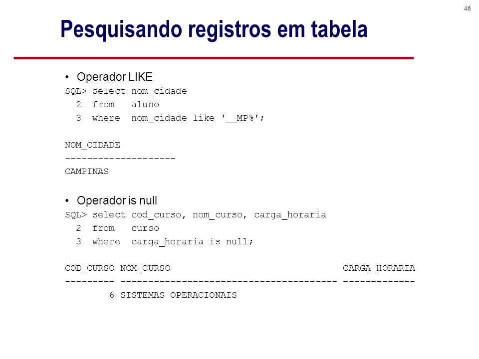 46 Pesquisando registros em tabela Operador LIKE SQL> select nom_cidade 2 from aluno 3 where nom_cidade like __MP% ; NOM_CIDADE -------------------- CAMPINAS Operador is null SQL> select cod_curso, nom_curso, carga_horaria 2 from curso 3 where carga_horaria is null; COD_CURSO NOM_CURSO CARGA_HORARIA --------- --------------------------------------- ------------- 6 SISTEMAS OPERACIONAIS