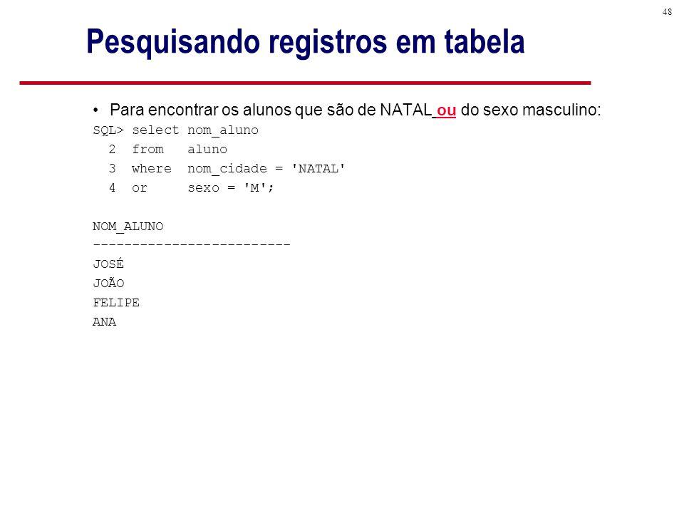 48 Pesquisando registros em tabela Para encontrar os alunos que são de NATAL ou do sexo masculino: SQL> select nom_aluno 2 from aluno 3 where nom_cidade = NATAL 4 or sexo = M ; NOM_ALUNO ------------------------- JOSÉ JOÃO FELIPE ANA