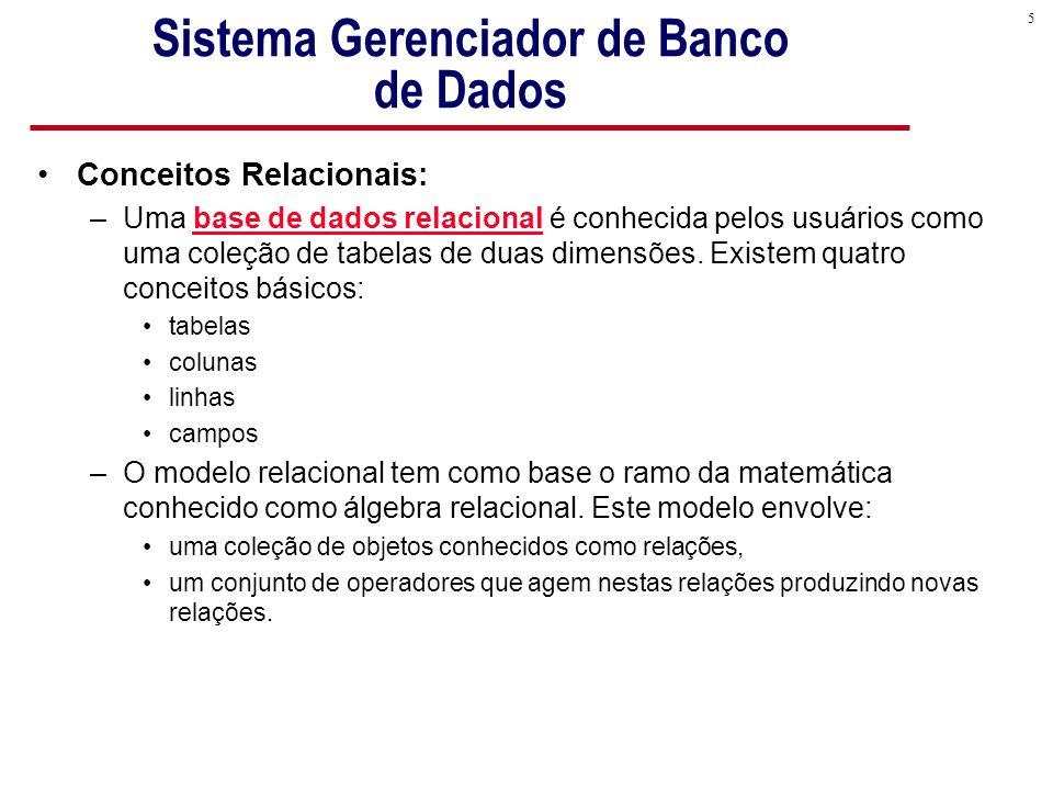 5 Sistema Gerenciador de Banco de Dados Conceitos Relacionais: –Uma base de dados relacional é conhecida pelos usuários como uma coleção de tabelas de duas dimensões.