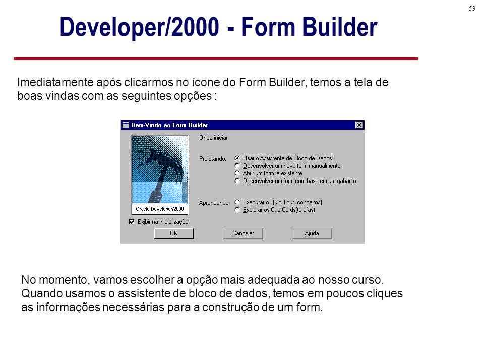 53 Imediatamente após clicarmos no ícone do Form Builder, temos a tela de boas vindas com as seguintes opções : No momento, vamos escolher a opção mais adequada ao nosso curso.
