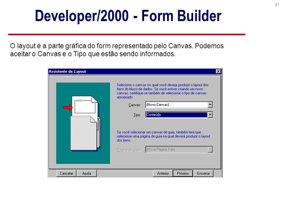 57 O layout é a parte gráfica do form representado pelo Canvas.