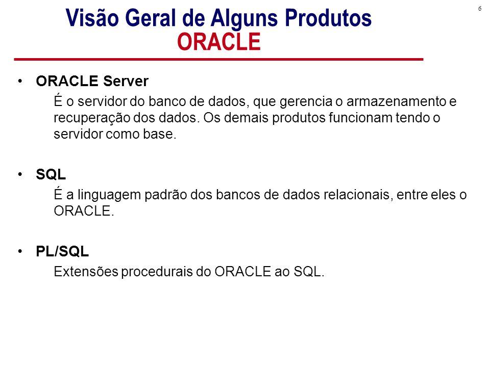 6 Visão Geral de Alguns Produtos ORACLE ORACLE Server É o servidor do banco de dados, que gerencia o armazenamento e recuperação dos dados.