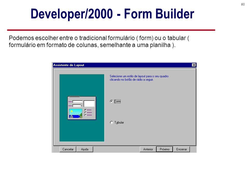 60 Podemos escolher entre o tradicional formulário ( form) ou o tabular ( formulário em formato de colunas, semelhante a uma planilha ).