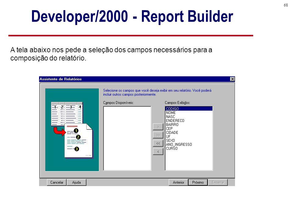 68 A tela abaixo nos pede a seleção dos campos necessários para a composição do relatório.