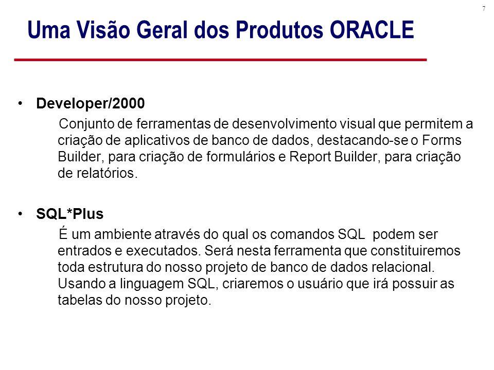 7 Uma Visão Geral dos Produtos ORACLE Developer/2000 Conjunto de ferramentas de desenvolvimento visual que permitem a criação de aplicativos de banco de dados, destacando-se o Forms Builder, para criação de formulários e Report Builder, para criação de relatórios.