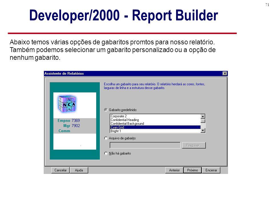 71 Developer/2000 - Report Builder Abaixo temos várias opções de gabaritos promtos para nosso relatório.
