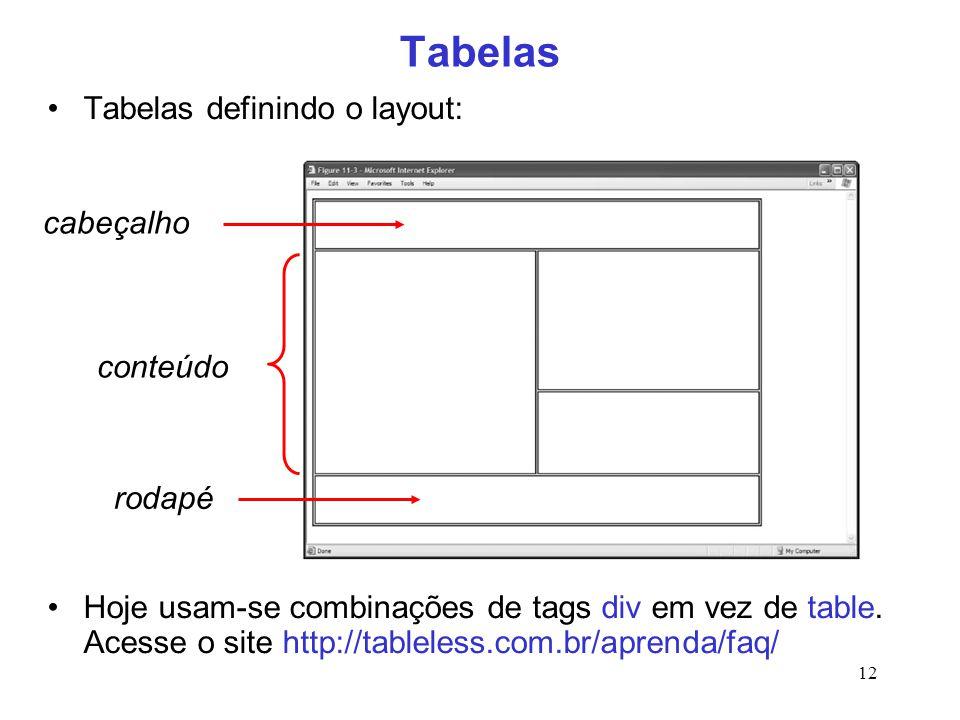 12 Tabelas Tabelas definindo o layout: Hoje usam-se combinações de tags div em vez de table. Acesse o site http://tableless.com.br/aprenda/faq/ cabeça