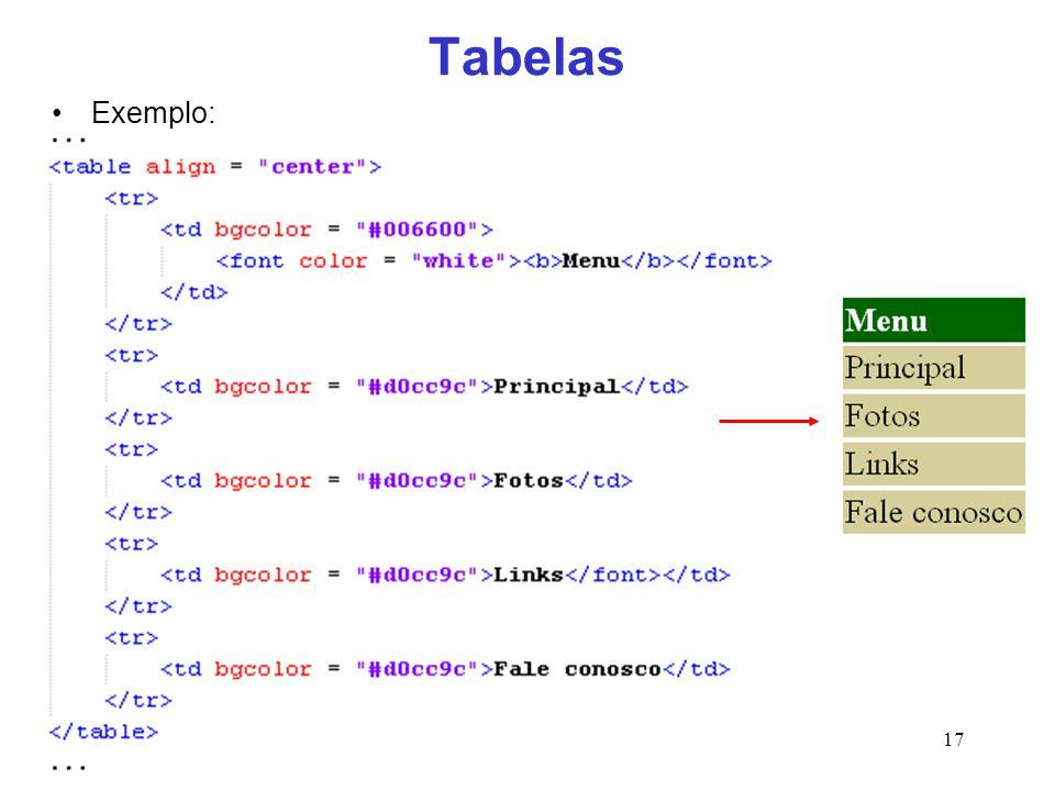 17 Tabelas Exemplo: