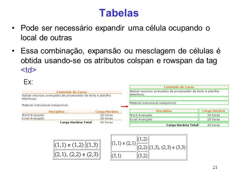 21 Tabelas Pode ser necessário expandir uma célula ocupando o local de outras Essa combinação, expansão ou mesclagem de células é obtida usando-se os