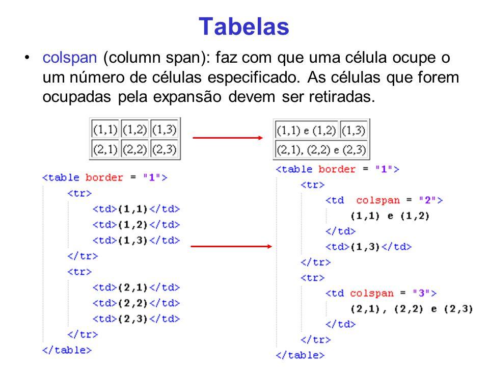 22 Tabelas colspan (column span): faz com que uma célula ocupe o um número de células especificado. As células que forem ocupadas pela expansão devem