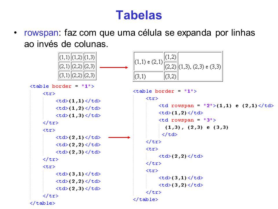 23 Tabelas rowspan: faz com que uma célula se expanda por linhas ao invés de colunas.